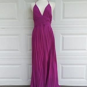 Soieblu Deep V-neck Pleated Maxi Dress